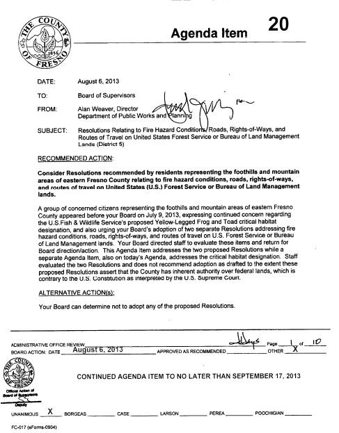 board of supervisors letter
